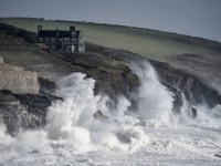 Waves hit the coast at Porthleven, Cornwall. Storm Freya is set to bring strong winds of up to 80mph, dangerous conditions and travel disruption to England and Wales on Sunday. PRESS ASSOCIATION Photo. Picture date: Sunday March 3, 2019. See PA story WEATHER Freya. Photo credit should read: Ben Birchall/PA Wire