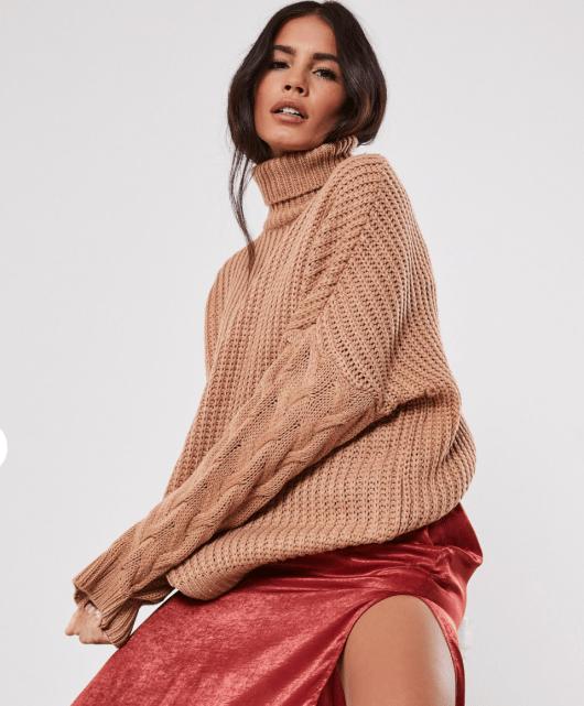 model wearing camel missguided jumper