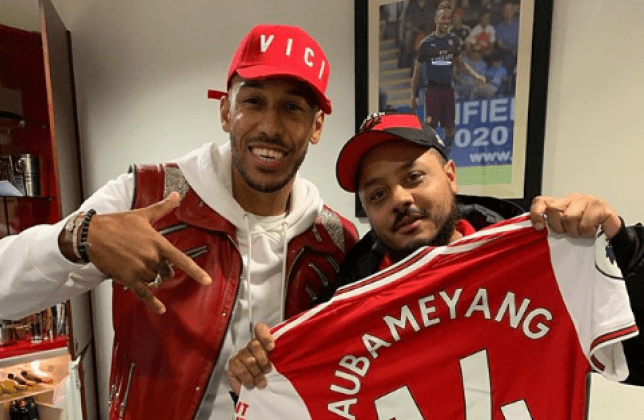 Pierre-Emerick Aubameyang with Arsenal Fan TV's Troopz