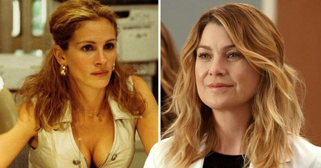 Julia Roberts as Erin Brockovich and Ellen Pompeo as Meredith Grey in Grey's Anatomy