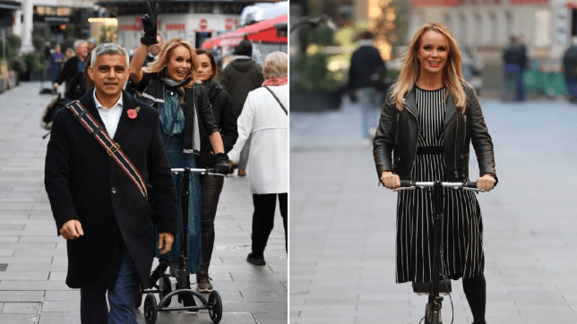Amanda Holden photobombs Sadiq Khan on her scooter as she wheels to work at Heart Breakfast
