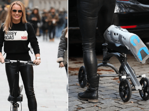 Amanda Holden doesn't let broken leg slow her down as she scoots to work in Abbey Road sweater