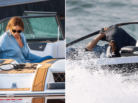 I'm A Celebrity's Caitlyn Jenner takes cover as she races off in speedboat