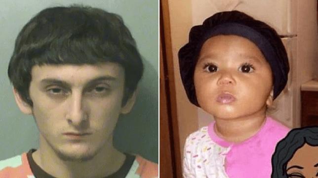 Mugshot of Jayden Straight next to photo of his murdered daughter Raija