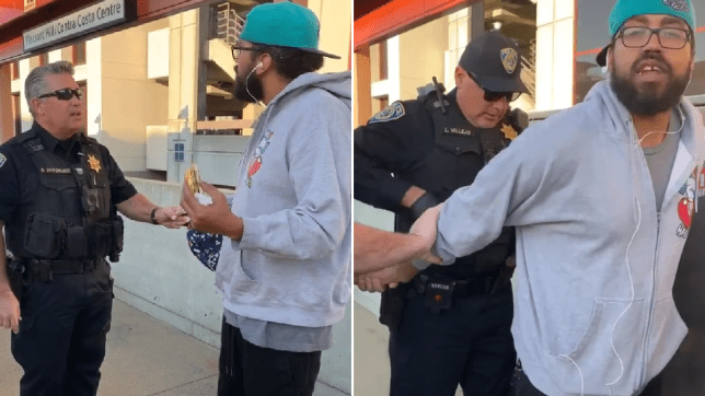 Black man arrested for eating a sandwich on a train platform
