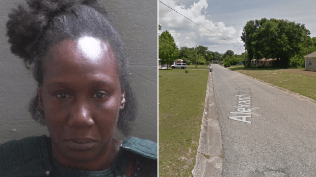 Mugshot of Tyetha Moore next to file photo of street where she reportedly torched ex's house