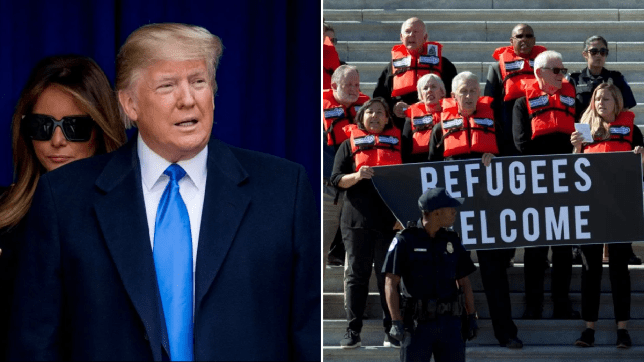 Photo of Donald Trump next to photo of pro-refugee protesters on the steps of the US Capital Building