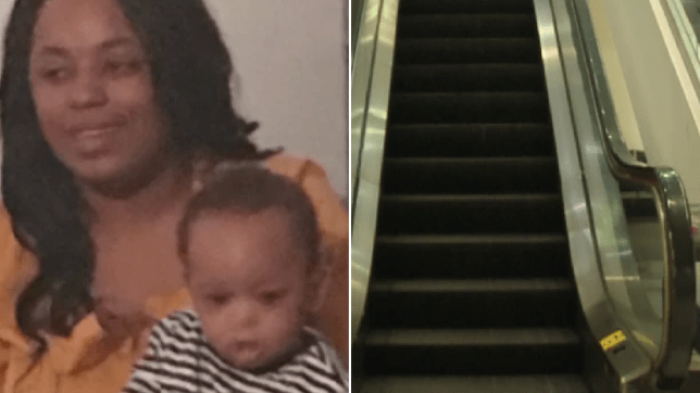 Photo of Jiterria Lightner and late son Jaiden next to escalator where he died