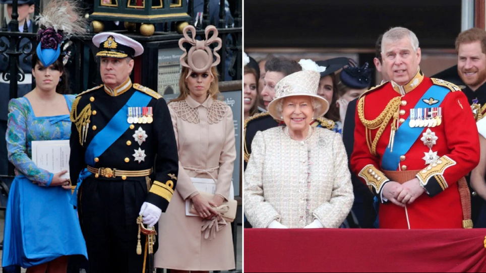 Princess Eugenie, Prince Andrew, Princess Beatrice, the Queen