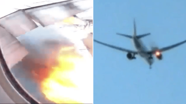 Grabs of plane's engines bursting into flames seen from the cabin and the ground