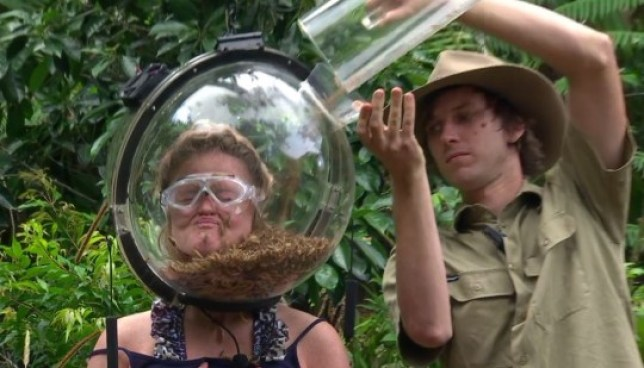 Emily Atack in a I'm a Celebrity Bushtucker trial in 2018