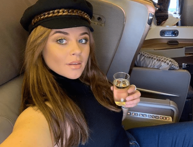 Emily Atack on her way to I'm A Celeb