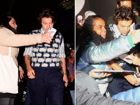 Harry Styles so unbothered as he's mobbed by fans after Saturday Night Live cast dinner
