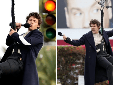 Harry Styles proves there's nothing he can't do as he sings while flying through the air for James Corden's The Late Late Show