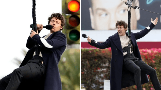 Harry Style proves there's nothing he can't do as he sings while flying through the air for The Late Late Show