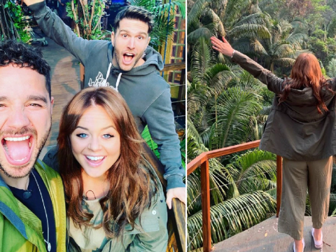 Emily Atack, Joel Dommett and Adam Thomas return to I'm A Celeb jungle for first day on set of Extra Camp