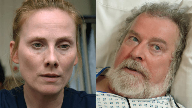 Jac Naylor and Elliot Hope in Holby City