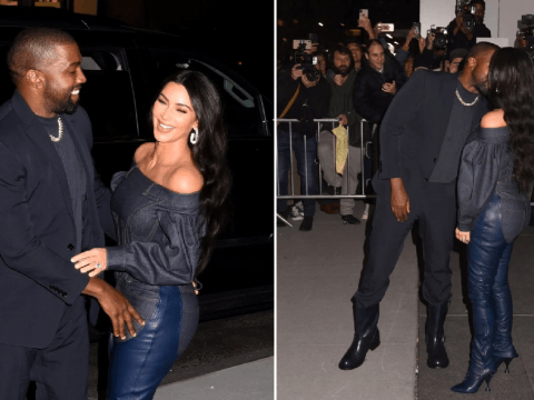 Kim Kardashian and Kanye West are completely smitten as they flirt on date night