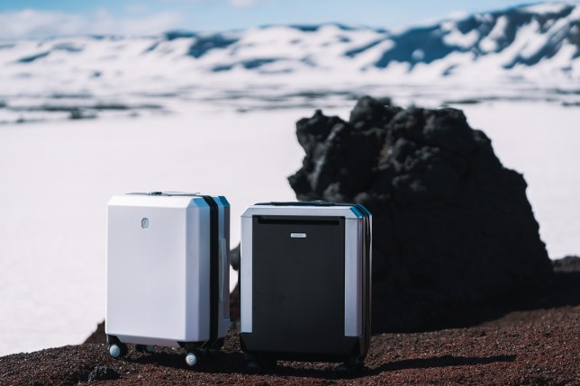 Picture of suitcase in front of snowy mountain