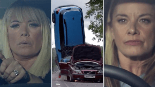Sharon Mitchell and Mel Owen car crash in EastEnders