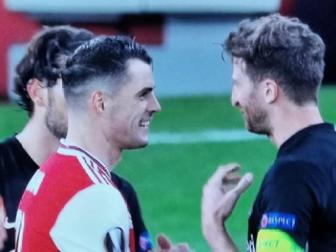Arsenal fans blast Granit Xhaka for laughing with Eintracht Frankfurt players after Europa League defeat