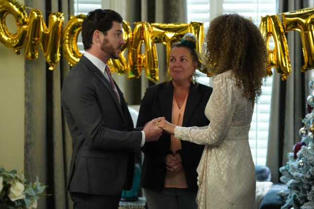 Gray and Chantelle Atkins and Karen Taylor in EastEnders