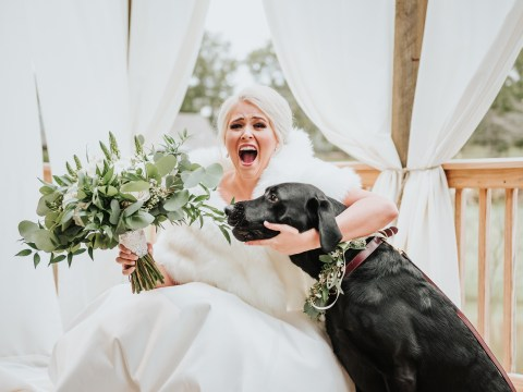 Nervous bride asks her dog to join her for first look photos and the results are delightful