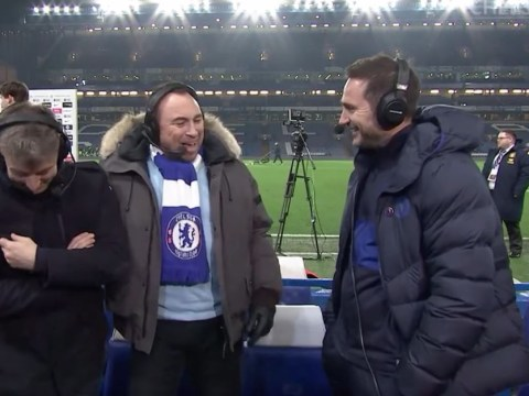 Frank Lampard reacts to Tottenham's defeat to Manchester United after Chelsea beat Aston Villa