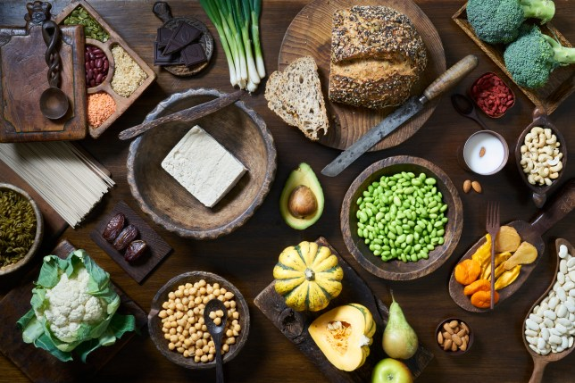 aerial shot of healthy food on table