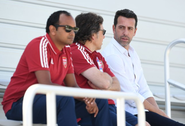 Vinai Venkatesham Arsenal's managing director, Raul Sanllehi Arsenal's head of football and Edu the technical director