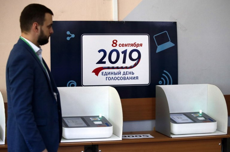 MOSCOW, RUSSIA - SEPTEMBER 8, 2019: Devices for electronic voting during the 2019 Moscow City Duma election at Digital Polling Station 9005. Artyom Geodakyan/TASS (Photo by Artyom GeodakyanTASS via Getty Images)
