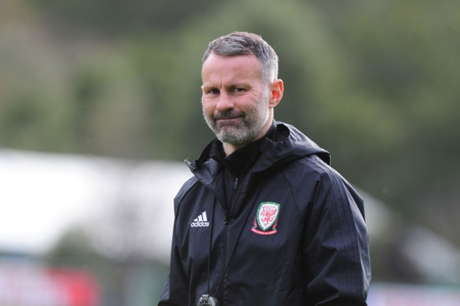 Ryan Giggs looks on while taking Wales training