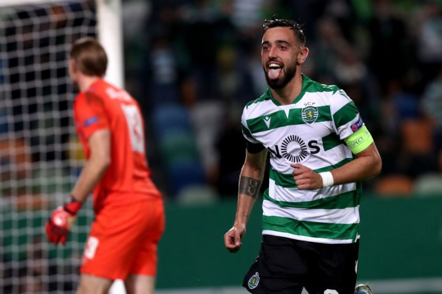 Burno Fernandes sticks out his tongue celebrating a goal for Sporting Lisbon