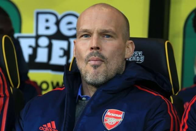 Freddie Ljungberg watches on during Arsenal's 2-2 draw with Norwich