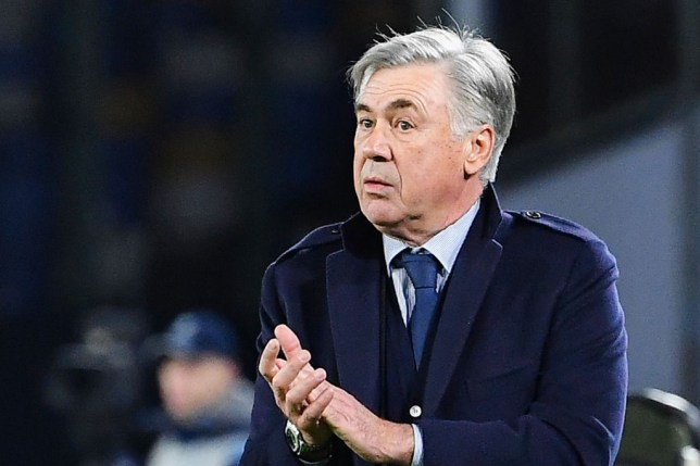 Napoli manager Carlo Ancelotti is pictured applauding his players during their game against Genk