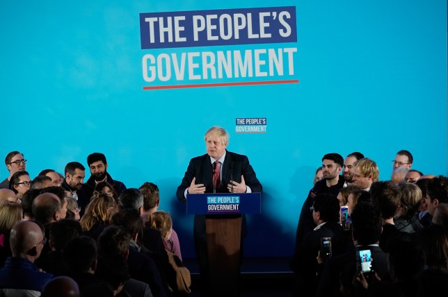 Boris Johnson speaks to supporters and press as the Conservatives celebrate a sweeping election victory.