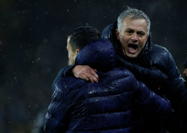 Jose Mourinho celebrates Tottenham's win over Wolves