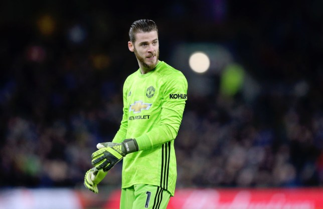 David de Gea is pictured in action for Manchester United