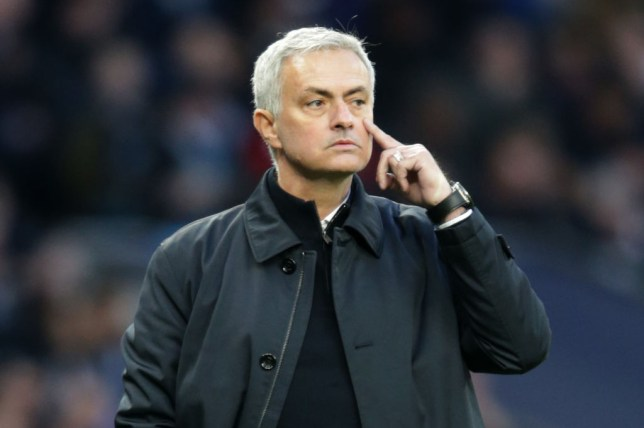 Former Manchester United manager Jose Mourinho signals to his Tottenham Hotspur players