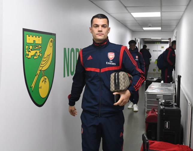 Granit Xhaka arrives for Arsenal's Premier League clash with Norwich