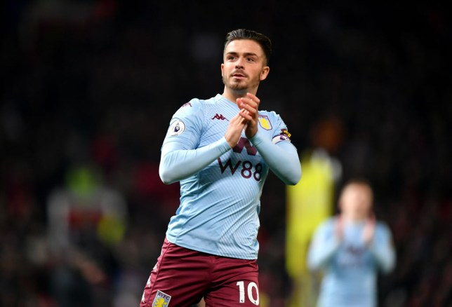 Jack Grealish applauds the Aston Villa fans after the 2-2 draw with Manchester United