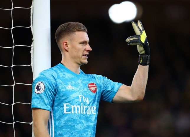 Bernd Leno during Arsenal's draw with Norwich in the Premier League