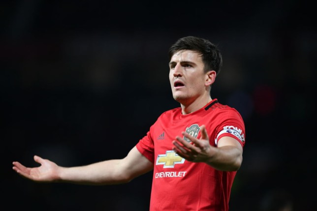 Harry Maguire asks a question during Manchester United's 2-2 draw with Aston Villa