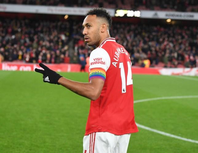 Pierre-Emerick Aubameyang runs to the toilet during Arsenal defeat