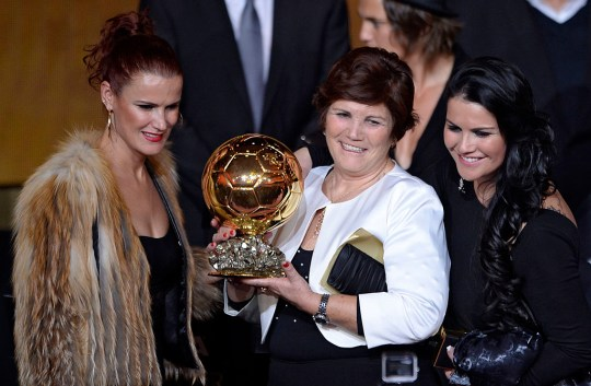 Cristiano Ronaldo's mum Dolores Aveiro and Katia with his Ballon d'Or award in 2014
