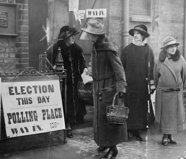 Women at a polling station in Thornton Heath, London, on December 6, 1923