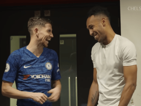 Pierre-Emerick Aubameyang and David Luiz joke around with Jorginho after controversial goal