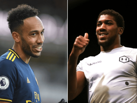 Pierre-Emerick Aubameyang reacts to Anthony Joshua picking Harry Kane to beat him in fight