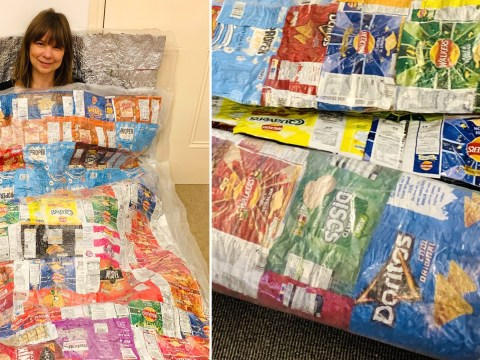 Woman recycles old crisp packets by ironing them together to create sleeping bags for homeless people