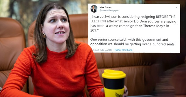 A fake tweet claimed Jo Swinson was resigning as disinformation continues to plague the General Election campaign (Picture: PA)